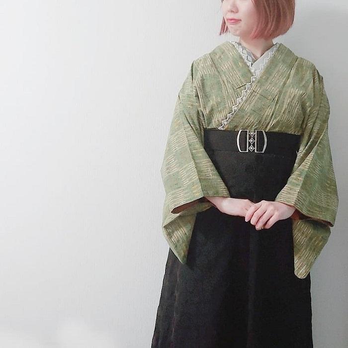 紬 カジュアル着物 スカート 和洋折衷